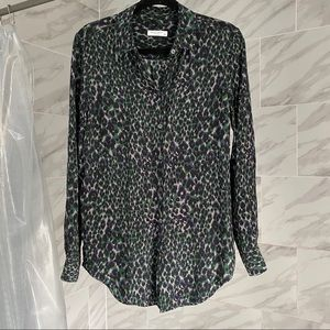 Equipment Cheetah Print Silk Blouse